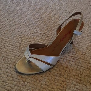 Miss Sixty Leather Strappy metallic cream and gold Sandals