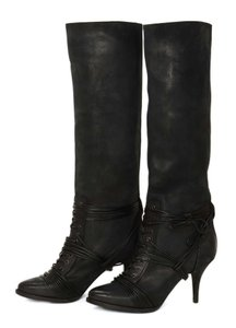 Givenchy Lace Boot Distressed Leather Black Boots