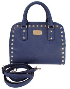 Michael Kors Studded Saffiano Leather Satchel in Navy Blue