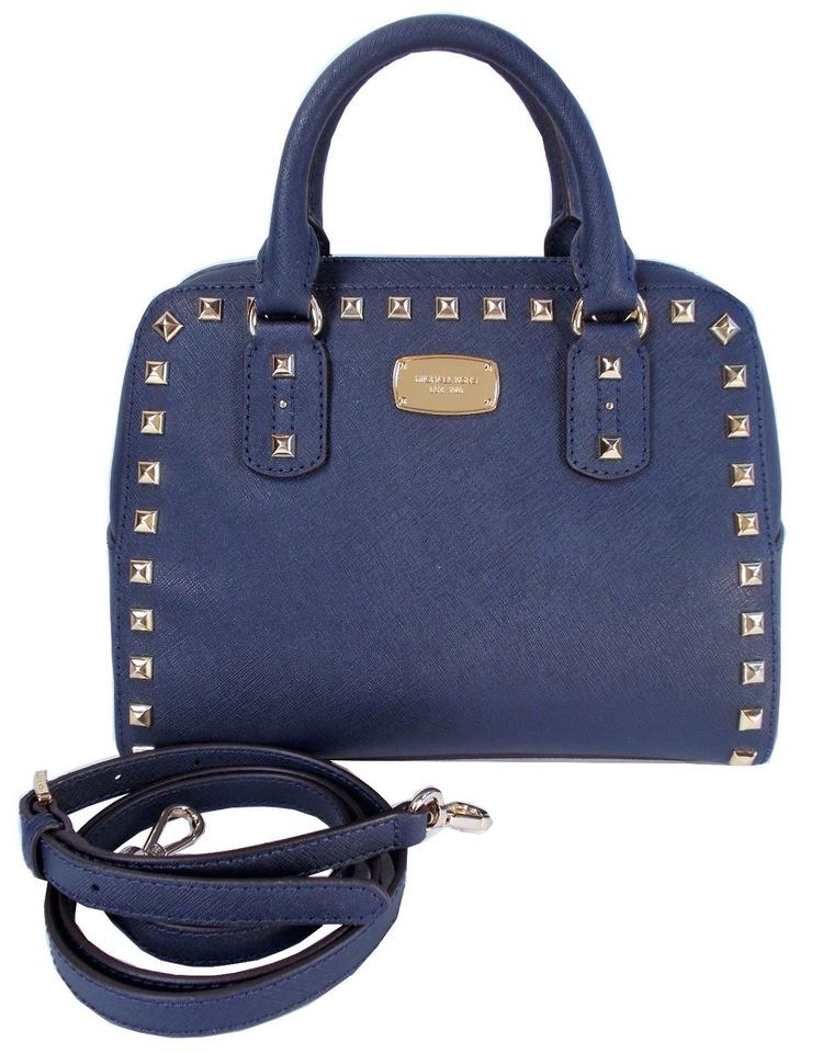 Michael Kors Studded Saffiano Leather Crossbody Satchel In Navy Blue