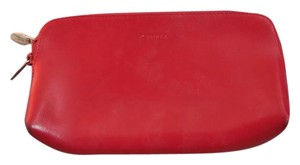 Furla Leather Unlined Logo Red Clutch