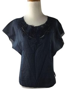 Vanessa Bruno Eyelet Plaid Studded Top Blue