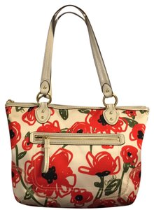 Coach Tote in White Red
