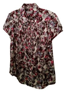 Liz Claiborne Silk Pleated Front Top Floral