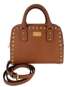 Michael Kors Saffiano Leather Studded Satchel in Luggage