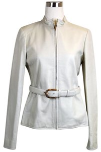 Gucci Leather Belted White Leather Jacket