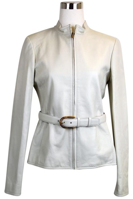 Item - White New Belted Bamboo Detail 40 340450 9022 Jacket Size 4 (S)