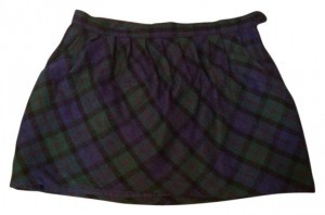 Old Navy Mini School Girl Wool Winter Skirt Green Plaid