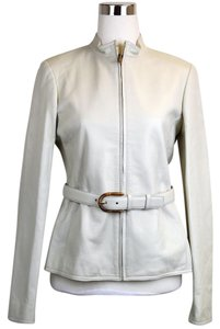 Gucci Leather Belted Bamboo Detail 340450 White Leather Jacket