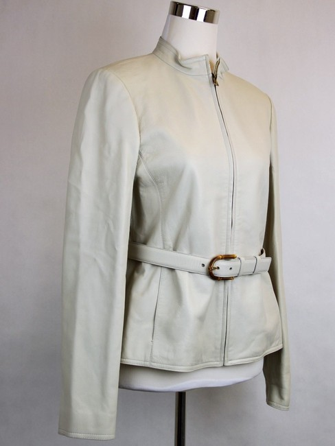Gucci Belted Bamboo Detail 340450 White Leather Jacket
