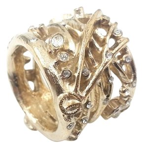 Chanel Authentic Chanel Gold Tree Branch Crystal CC Ring
