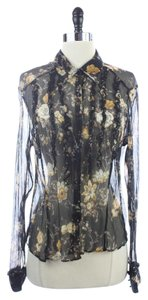 Boston Proper Floral Silk Sheer Top Black