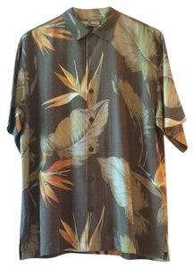 Tommy Bahama Button Down Shirt Brown Green Multi