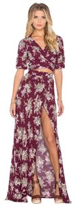 Flynn Skye Floral Maxi Wrap Slit Maxi Skirt Burgundy and White
