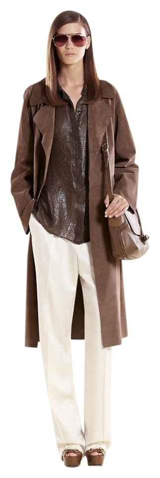 fedccdea2 Gucci Brown New Runway Ash Suede Belted 40 340439 2711 Coat Size 4 ...