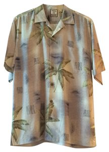 Tommy Bahama Button Down Shirt Beige Green Black