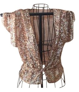 Whistles Designer Sequin Top Gold