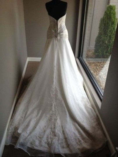 Allure Bridals Ivory/Cafe/Silver 8362 Dress Size 10 (M)
