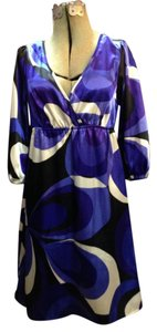 Bisou Bisou short dress Blue Multicolor Blue Abstract Mini on Tradesy