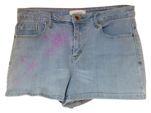 Forever 21 High Waist Paint Splatter Denim Mini/Short Shorts