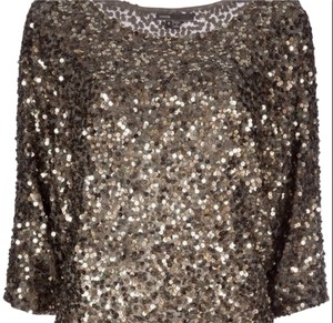 Vince Sequin Blouse Top Gray and Gold