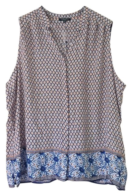 Item - Printed Pleated Back Blouse Button-down Top Size 22 (Plus 2x)