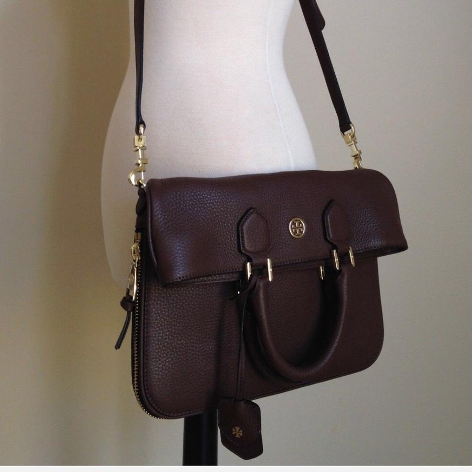 52695aaf22a Tory Burch Robinson Pebbled Fold-over Dark Walnut Leather Messenger Bag -  Tradesy