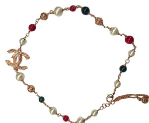 Chanel Chanel necklace choker gold metal with colorful beads