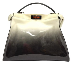 Fendi Ombre Patent Large Satchel in Black White
