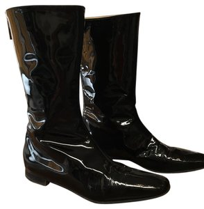 Manolo Blahnik Designer Patent Leather Mid Rise Black Boots