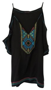 Hale Bob Embroidered Cold Shoulder Top Black