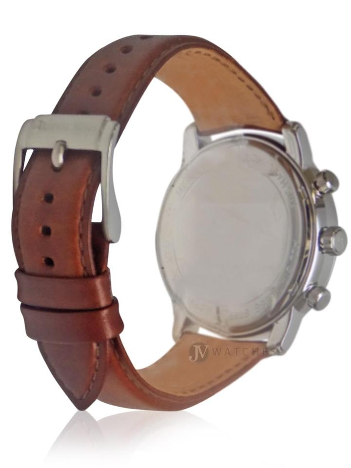 2abbe694a38a Michael Kors Silver New Mens (Mk8372) Landaulet Brown Leather Strap ...