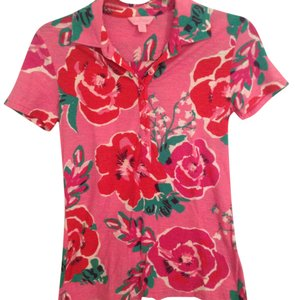Lilly Pulitzer Collar Floral Rose Jersey Button Down Shirt Pink