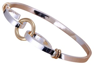 Sears New Sterling Silver Two Tone Bangle Bracelet, Sterling Silver & Gold Filled, 6.8 gms, Fits 7-8 in Wrist.
