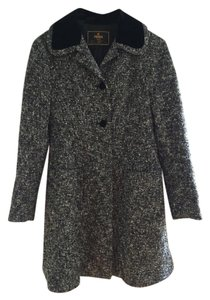 Fendi Suede Tweed Buttons Pea Coat