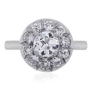 Other 14k White Gold 0.90ctw Diamond Halo Vintage Engagement Ring
