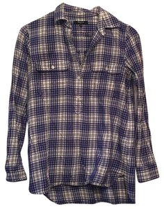 Madewell Button Down Shirt Purple/White/black