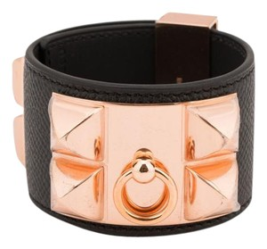 Herms Hermes Black CDC in Leather with Rose gold. Fits up to 8.8
