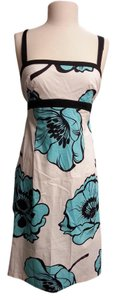 Beata Studio Floral Print Tie Sleeveless Knee Length Zip Up Dress