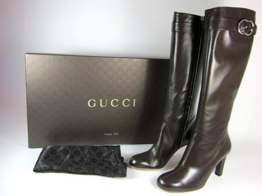Gucci Leather Gg Tall Logo Brown Boots