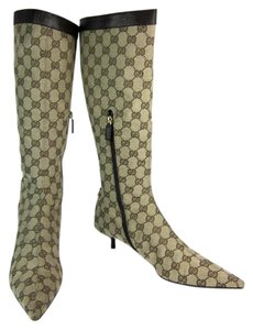 Gucci Gg Leather Tall Wide Beige Boots