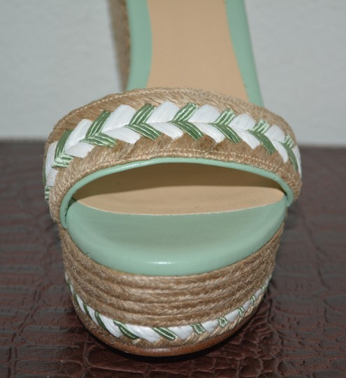Gucci Leather Sandals Studded Sandals Green Wedges
