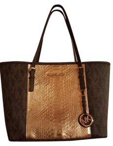 Michael Kors Python Signature Tote in Brown and Gold