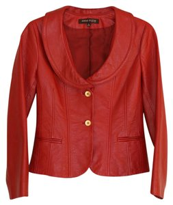 Anne Klein Leather Red Leather Jacket