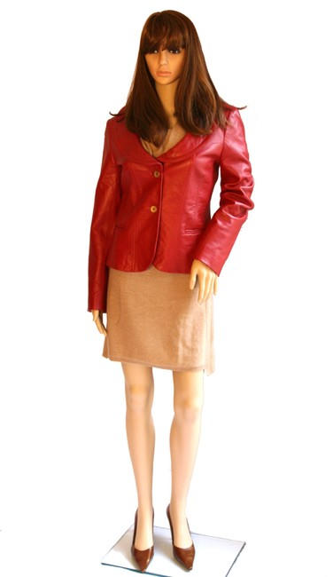 Anne Klein Women Red Leather Jacket