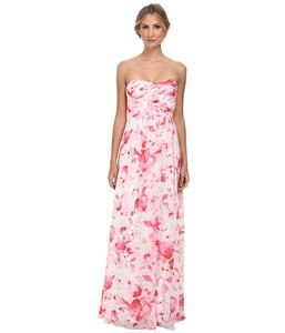 Donna Morgan Rose Pink Multi Chiffon Stephanie Bridesmaid/Mob Dress Size 4 (S)