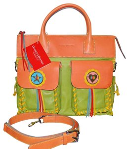 Dooney & Bourke Bolero Leather Satchel in Kiwi Tangerine & Sunflower