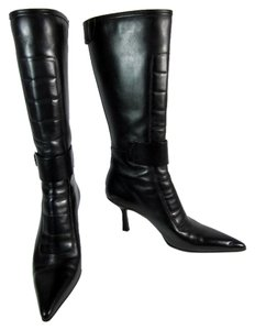 Gucci Black Leather Tall Logo Boots