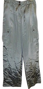 A.B.S. by Allen Schwartz Satin Abs Cargo Pants Silver Gray