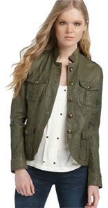 Kenna-T Epaulets Olive Green Leather Jacket